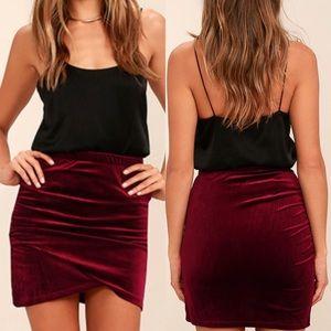 Burgundy Velvet Bodycon Skirt